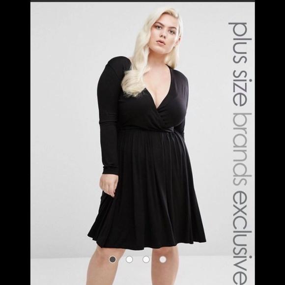 Club L Plus Long Sleeve Wrap Front Skater Dress